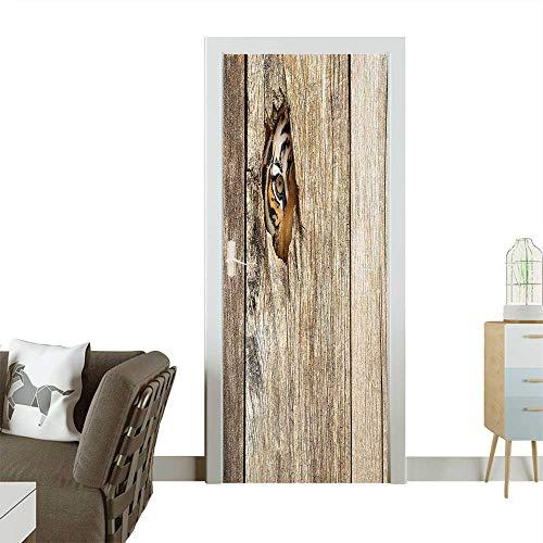 Door Art Sticker Siberian Tiger Eye Looking Through Wooden Peep Hole in Spy Predator Big Room decorationW30 x H80 INCH