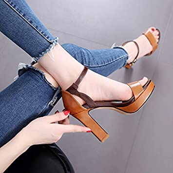 SHOESHAOGE Coarse Heel Leaking Toe Buckle With Waterproof Table High Heel Sandals Season Hollow Show Slim Women...