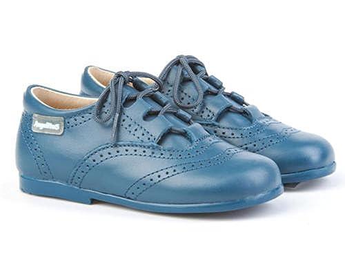 ANGELITOS Zapatos inglesitos de Piel Para Niña y Niño (Unisex) Color Azul Azafata.