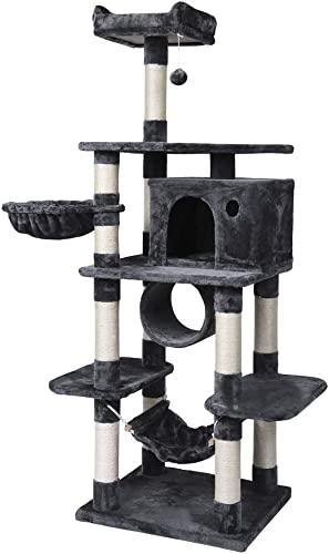 Yaheetech Large Cat Tree House Pet Furniture Climber, with Scratching Posts, Dangling Ball, Hammock, Condo and Tunnel, Anti-toppling Device 69.5 inches