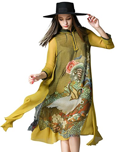 LAI MENG Women's Retro Oriental Mythology Prints 3/4 Sleeve Silk blended Loose Dress Yellow