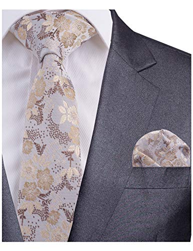 - GUSLESON Quality Floral Necktie and Pocket Square Brown Tie Set (0718-20)