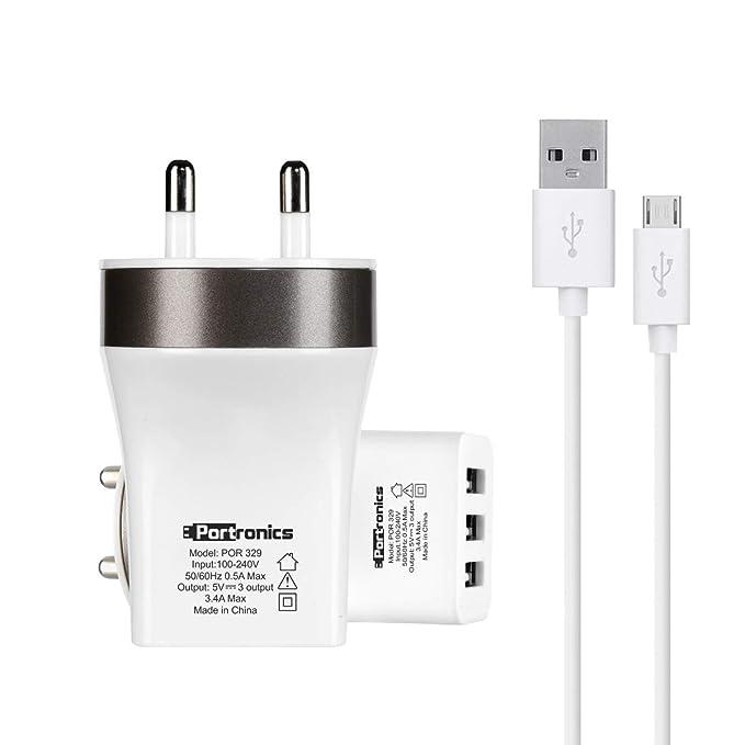 Portronics POR 329 3 Port USB Charger  White