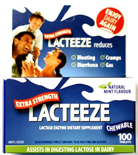 Lacteeze Extra Strength 120 chewable tablets Mint by Gelda Scientific