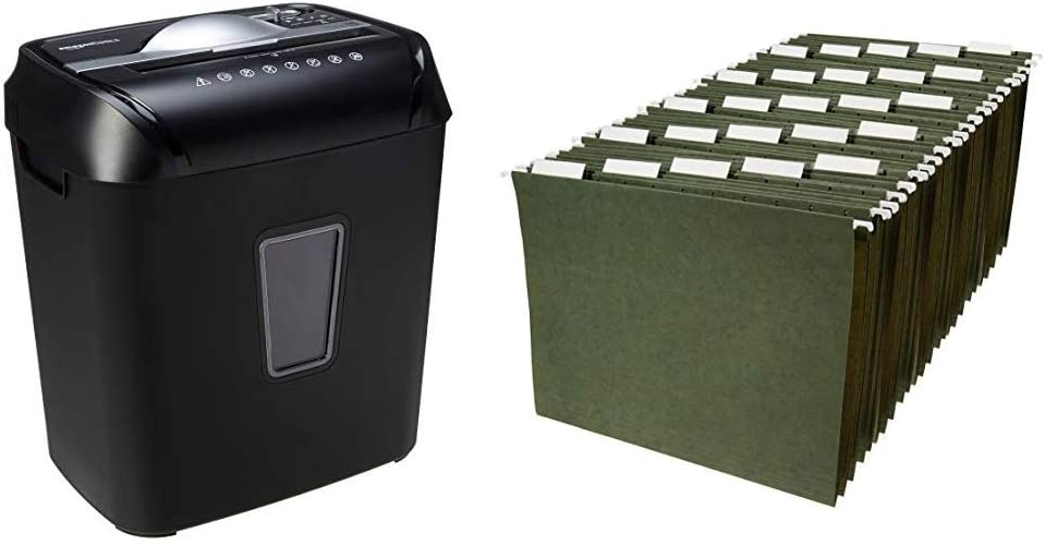 AmazonBasics 12-Sheet Cross-Cut Paper and Credit Card Home Office Shredder & Hanging Organizer File Folders - Letter Size, Green, 25-Pack