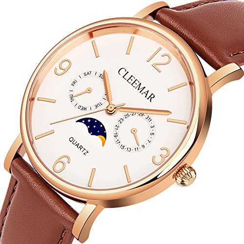 (Men and Women's Quartz Watch, Cleemar Classic Fashion Analog Waterproof Wrist Watch with Date, Day/Moon Phase Leather Strap and Stainless Steel Case Brown)