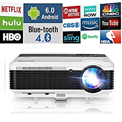 Wifi Projector Wireless Bluetooth Led Lcd Home Cinema 3900 Lumen Wxga Digital Multimedia Projector Android 6 0 Smart Tv Proyector With Dual Hdmi Vga Usb Ypbpr Rca Audio Outdoor Theater Movie Gaming