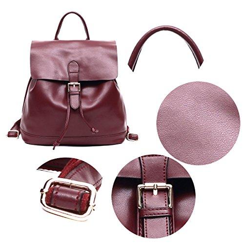 College Épaule Rouge de Sac a Noir pour Cordon Dos Ados Ecole Cuir Adulte Grand Backpack Femme à Voyage Fille Porté Grande vzan4RRxq