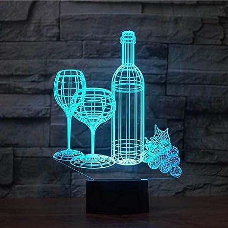 Jinson well 3d Botella de vino de cristal lámpara de mesa luz nocturna cambio de 7