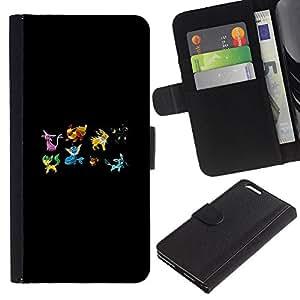 """A-type (Pekemon Equipo"""") Colorida Impresión Funda Cuero Monedero Caja Bolsa Cubierta Caja Piel Card Slots Para Apple (5.5 inches!!!) iPhone 6+ Plus / 6S+ Plus"""