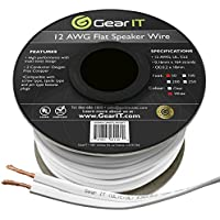GearIT Elite Series 12AWG Flat Speaker Wire (50 Feet / 15 Meters) - Oxygen Free Copper (OFC) CL2 Rated In-Wall Installation for Home Theater, Car Audio, and Outdoor Use, White