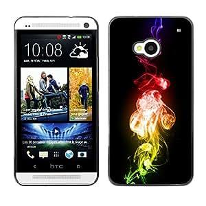 Qstar Arte & diseño plástico duro Fundas Cover Cubre Hard Case Cover para HTC One M7 ( Flame Fire Bling Colors Neon Smoke Art)