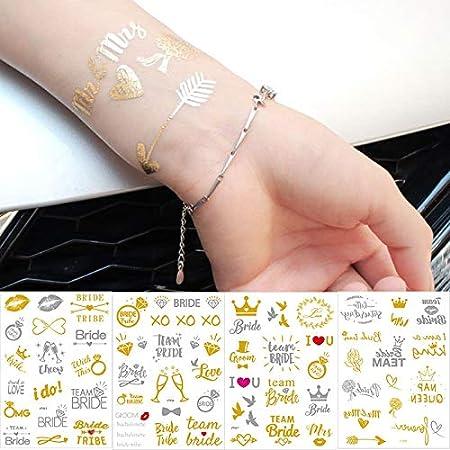 tzxdbh 1 Hoja Equipo Grande Novia Tribu Flash Tatuaje Temporal Oro ...