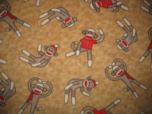 (Sock Monkey on Tan Fleece Throw Blanket)