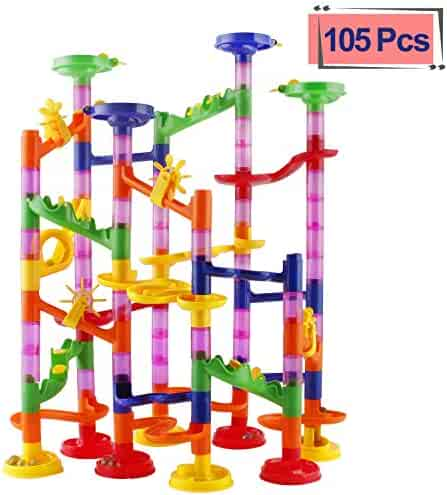 Elongdi Marble Run Race Coaster Set, Marble Run Railway Toys [ 105 Pieces ] Construction Toys Building Blocks Set Marble Run Race Coaster Maze Toys for Kids
