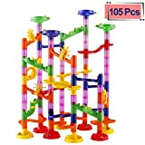 Elongdi Marble Run Race Coaster Set, Marble Run Railway Toys [ 105 Pieces ] Construction Toys Building Blocks Set Marble Run Race Coaster Maze Toys Kids