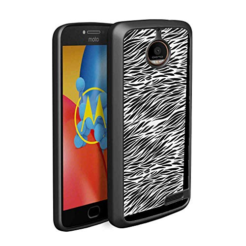 (TPU Case Fits for Moto E4 [5 Inch] Zebra Print Black and White Hand Drawn African Animal Skin Camouflage Illustration Charcoal Grey White )