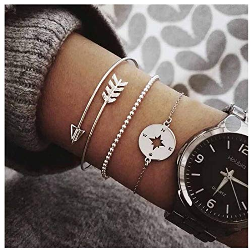 Olbye Silver Multi Layer Bracelet Dainty Coin Arrow Hand Chain Charm Bracelet Jewelry Gift for Women and Girls