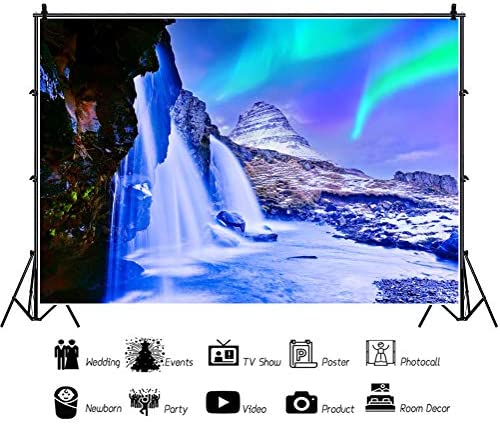 CdHBH 10x7ft Polar Lights in Norway Mountain Landscape Backdrop for Photography Outdoor Travel Sky Nature Scenery Lake Background Photo Studio Props Man Lovers Adult Girl Boy Artistic Portrait