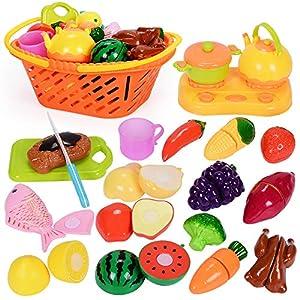 NextX Play Food Set, Pretend Play Kitchen Set for Kids, Cutting Fruits