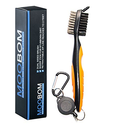 Golf Brush and Groove Cleaner with Retractable Clip Lightweight and Stylish (Orange)