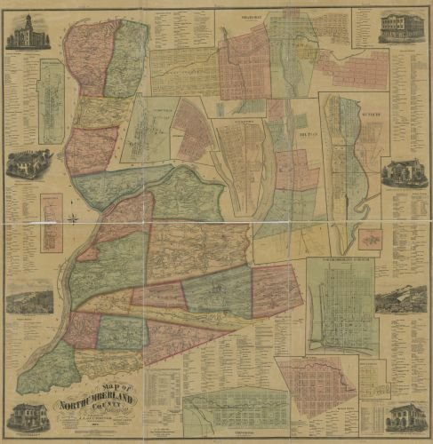1874 Map of Northumberland County, Pennsylvania : from Actual surveys - Size: 24x24 - Ready to Frame ()
