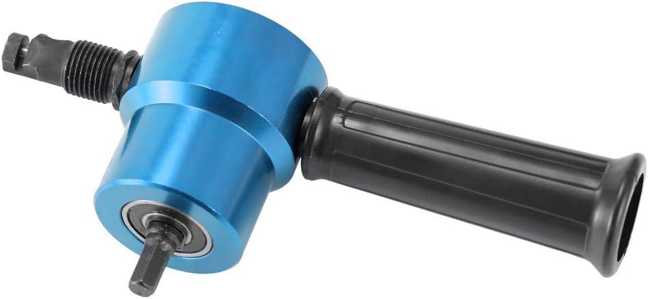 Gecheer Doppelk/öpfiger Blechnibbler-Schneider 360 Grad verstellbare Bohrer-Befestigung Elektrowerkzeug-Zubeh/ör Chrom-Vanadium-Stahl ABS