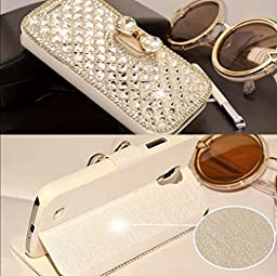 Samsung Galaxy J7 Wallet Case,Inspirationc and Made Luxury 3D Bling Crystal Rhinestone Leather Purse Flip Card Pouch Stand Cover Case for Samsung Galaxy J7 2016--Silver