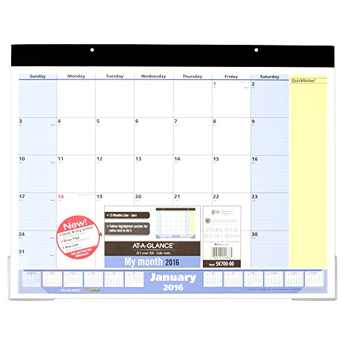 AT-A-GLANCE Desk Pad Calendar 2016, QuickNotes, 21.75 x 15.5 Inch Pages Size (SK700-00)
