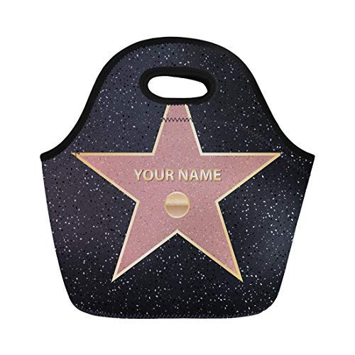 Vontuxe Insulated Lunch Tote Bag Creative of Sidewalk Famous Actor Star Hollywood Walk Fame Outdoor Picnic Food Handbag Lunch Box for Men Women Children