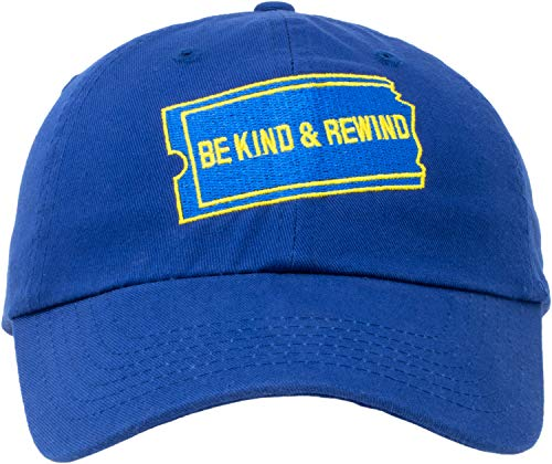 Be Kind Rewind Hat | 1990s 90s Nostalgia Pop Culture Baseball Dad Cap Men Women Royal Blue ()