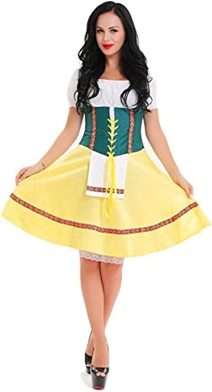 CLUBCORSETS para Mujer Amarillo y Verde Vestido de Disfraz de ...