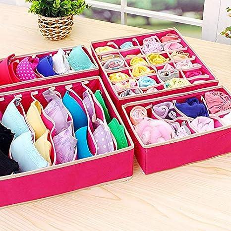 HibiscusElla Multipurpose 4 In 1 Foldable Underwear Organizer Household Storage Box For Bra Ties Drawer Closet Boxes For Scarfs Socks