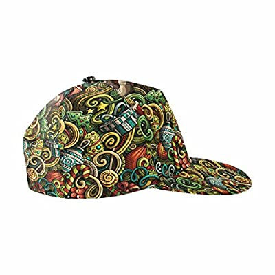 InterestPrint Cartoon Doodles New Year Classic Dad Hat Adjustable Plain Cap