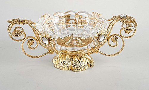 Decorative Glass Centerpiece Bowl With Gold Leaf Metal Stand Antique Crystal Bowls