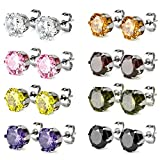 Charisma Stainless Steel Cubic Zirconia Stud Earrings for Women Girls Set of 8 Pairs Hypoallergenic