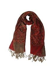 Womens Elegant Cashmere Pashmina Flower Soft Shawl Long Neck Scarves Wraps Stole - Dark Red, 50mm