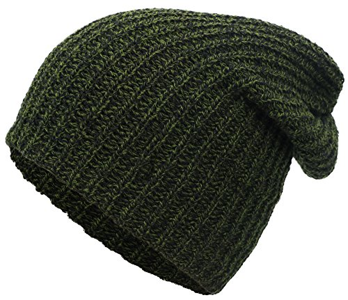 Simplicity Men / Women's Stretchy Oversized Knit Slouchy Beanie Ski Cap,Green