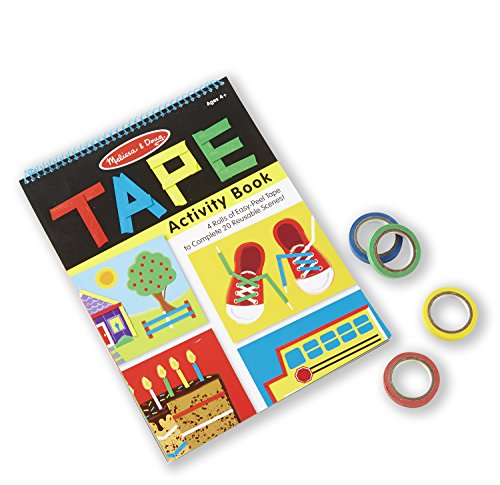 Melissa & Doug Tape Activity Book: 4 Rolls of Easy-Tear Tape and 20 Reusable Scenes (Travel Kids Games)