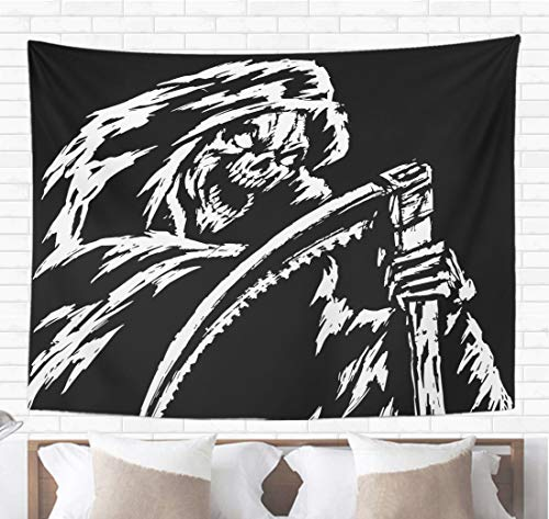 Topyee Home Decorative Tapestry Wall Hanging The Grim Reaper Black and White Colors Scary Horror Character 60