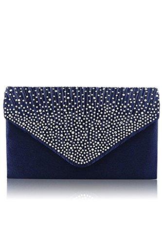 Vococal - Bolso de Mano cartera de Gran Diamante Satinado / Bolso de Hombro Solo con Cadena para Mujer Noche Fiesta,Azul Azul