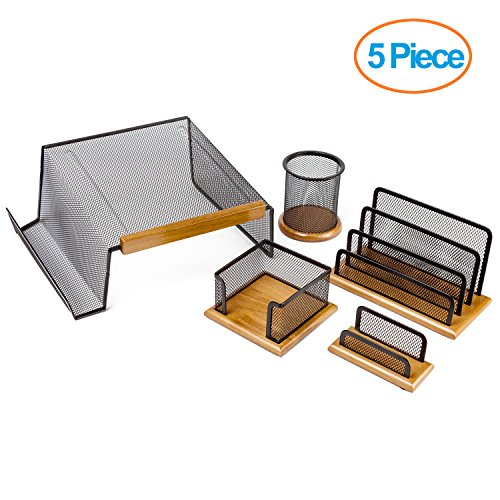Halter Executive 5 Piece Mesh Wood Office Desk Set - Phone Stand / Pencil Cup / Business Card Holder / Memo Holder / Letter Holder