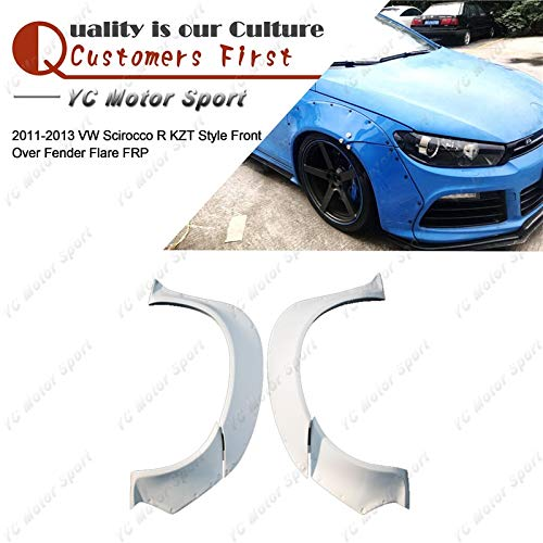 (Mudguards Car Accessories FRP Fiber Glass KZT Style Front Fender 4pcs Fit For 2011-2013 Volkswagen Scirocco R Front Over Fender Flare)