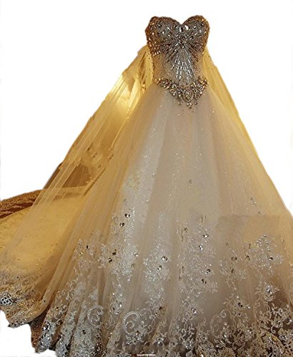 Sweetgirl Beads Wedding Dress Long Train Lace Custom Real Pictue L022