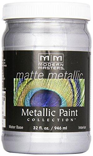 Modern Masters MM591 Matte Metallic Paint, Platinum Silver, Quart