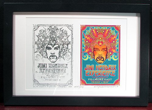 FRAMED Jimi Hendrix '68 Fillmore East Poster New Found Sketch and Final Image Artist Edition Signed by David Byrd