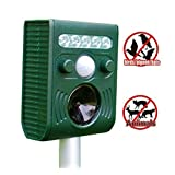 Universe® Solar Waterproof Animal Repeller Birds Dogs Rats Mice Cats Deer Squirrels Foxes Raccoons Skunks Rodents Electronic Scarecrow Control Repellent Flashing LED Lights to Scare Away Most Types of Pests