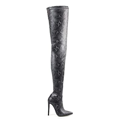 3324c90c606 perixir Knee High Boots Shoes Printed PU Knitted Thigh High Boots Flat  Women Shoes Pointed Toe