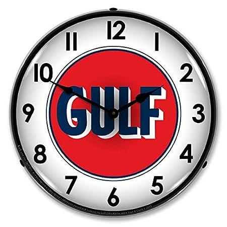 Gulf 1960's Logo Lighted Wall Clock: Amazon co uk: Kitchen