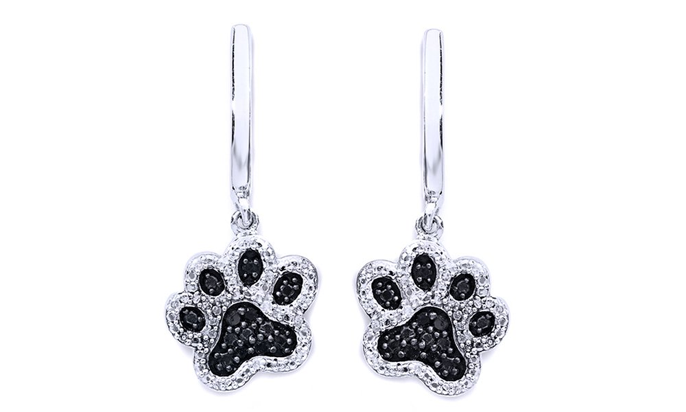Black & White Natural Diamond Paw Print Dangle Earrings In 14K White Gold Over Sterling Silver (1/6 Ct)